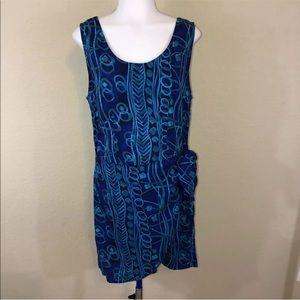 Vintage 80s Faux Wrap Side Tie Sleeveless Dress
